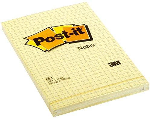 Post-it Brand 70209 Large Notes a Quadretti, 6 blocchetti da 100 Fogli ( 600 fogli totali) , 102 mm x 152 mm