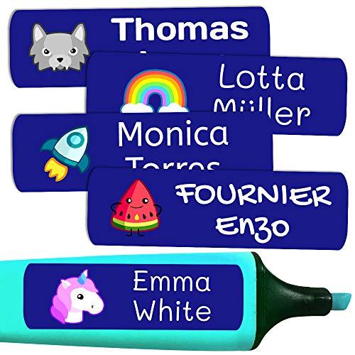 50 personalisierte Klebeetiketten, 6 x 2 cm, zur Kennzeichnung von Objekten, Büchern, Lunchboxen, etc. Color Marine