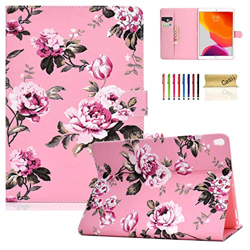 Case for New iPad 10.2' 2019 (7th Generation), Casii Premium PU Leather Soft Back Cover Protective Smart Flip Wallet Case with Auto Wake/Sleep for Apple iPad 10.2 inch 2019 Release, Pink Flowers