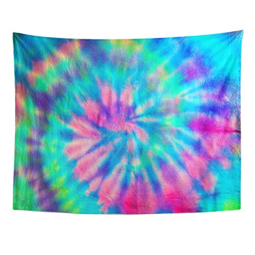TOMPOP Tapestry Green 70S Swirl Spiral Pattern Tie Dye Pink Pastel Home Decor Wall Hanging for Living Room Bedroom Dorm 60x80 Inches