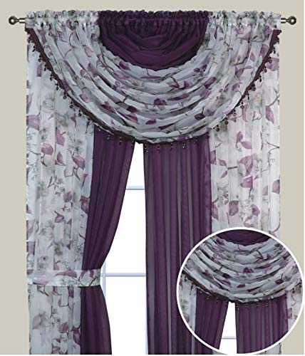 """Complete Window Sheer Voile Floral Curtain Panel Set w/4 Attached Panels (55x84"""" Each) and 2 attached Valances w/Beads and 2 Tiebacks - Easy Installation - Multicolor Purple Flower and Solid Purple"""