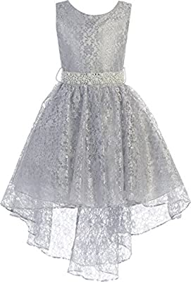 BNY Corner High Low Floral Lace Rhinestones Pearl Belt Easter Pageant Flower Girl Dress