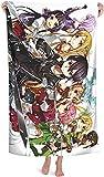 Toalla de playa Sword Art Online Kirito and Asuna Beach Towel, productos de baño para niños, impresión 3D, de microfibra, ligera, perfecta (Art3, 90 x 180 cm)