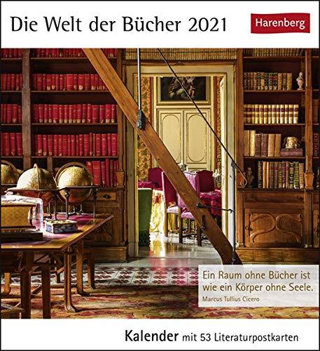 Die Welt der Bücher Postkartenkalender 2021 - Tischkalender mit Wochenkalendarium - 53 perforierte Postkarten zum Heraustrennen - zum Aufstellen oder Aufhängen - Format 12 x 15 cm