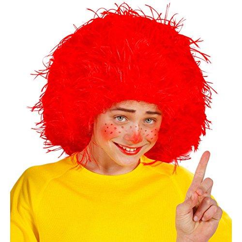Amakando Perruque galopin fripon pour Enfant Cheveux ondulés Clown Cirque Rouge manège fête Anniversaire Carnaval des Enfants Accessoire Costume