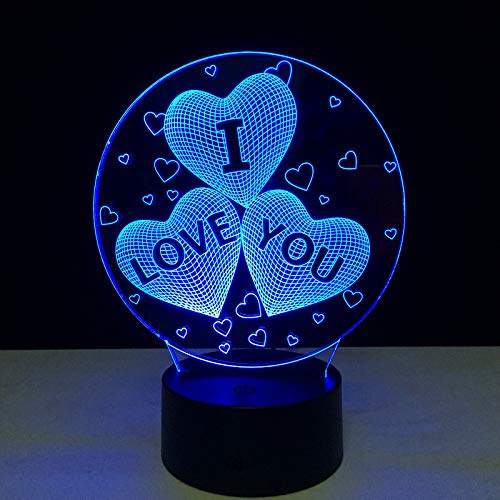KangYD 3D Night Light Creative I Love You, LED Optical Illusion Lamp, D - Remote Crack White(16 Color), Atmosphere Lamp, Gift for Boy, Bedside Lamp, Table Lamp, Art Night Lamp