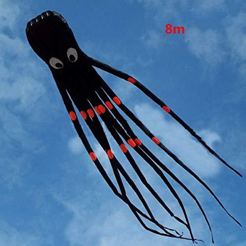 FEN 3D 26Ft 8M Einzellinie Octopus Black Power Sport Big Kite Spielzeug für draußen Software Energiesport Drachen steigen Lassen Leicht zu fliegen