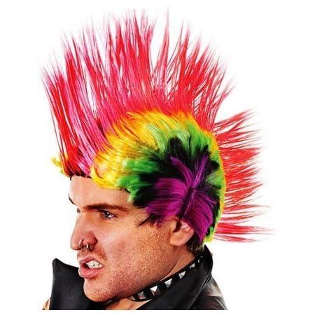 Multi Coloured Mohican Wig Rainbow Punk Rocker Jonny Rotten Fancy Dress :  Amazon.co.uk: Toys & Games
