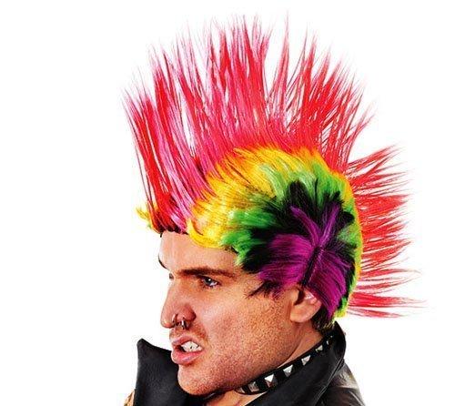 Men's Rainbow Mohican Punk Wig