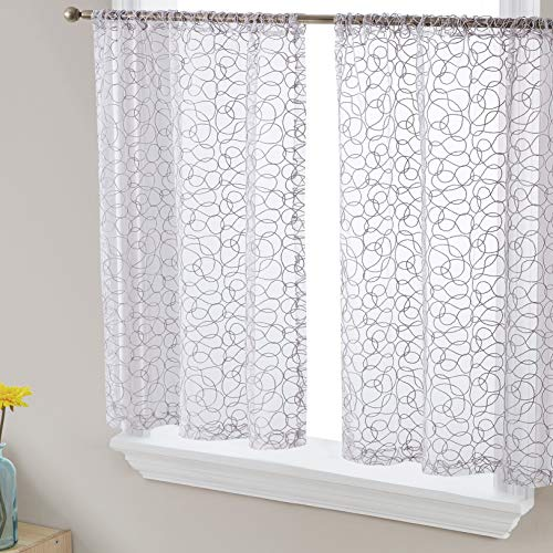 HLC.ME Audrey Embroidered Sheer Voile Window Curtain Short Rod Pocket Tiers for Kitchen, Bedroom, Small Windows and Bathroom (30 x 36 inch Long, Silver Grey)