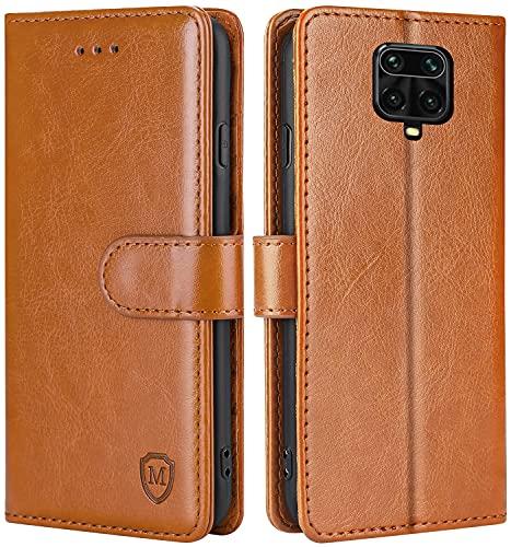 FMPCUON Hülle für Xiaomi Redmi Note 9S/Note 9 Pro/Note 9 Pro Max/Poco M2 Handyhülle [Standfunktion] [Magnetverschluss] Tasche Flip Hülle Schutzhülle lederhülle flip case für Braun