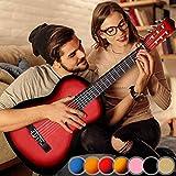 Guitare Classique - pour Adulte, 4/4, avec 6 Cordes de Nylon, en Bois, Idéale pour Débutant, Couleurs au Choix – Guitare Acoustique, Instrument à Cordes (Rouge)