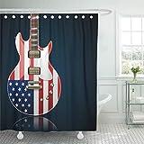 MMPTn Rideau de Douche étanche Guitare électrique avec Drapeau américain Rock Blues Concert Jazz Noir 180,3 x 180,3 cm Tissu imperméable avec 12 Crochets en Plastique