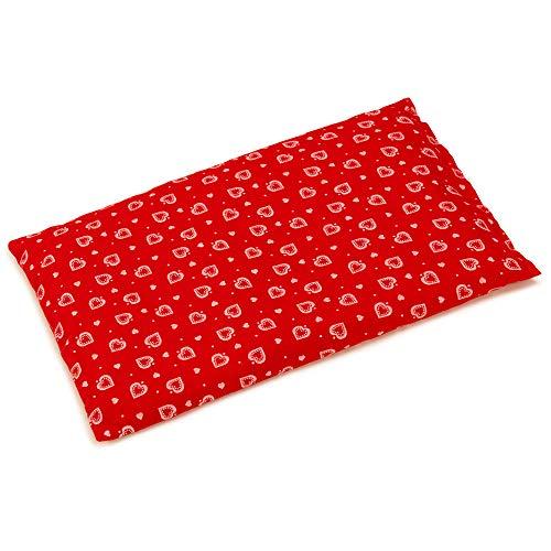 Coussin aux noyaux de cerises - rouge avec des coeurs - 30x20cm - Coussin thermique - Coussin aux graines - Bouillotte sèche - Compresse froide -