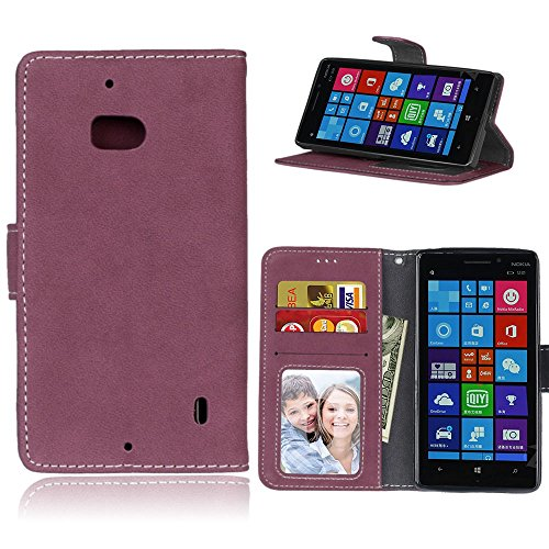 pinlu® Hohe Qualität Retro Scrub PU Leder Etui Schutzhülle Für Microsoft Lumia 930 Lederhülle Flip Cover Brieftasche Mit Stand Function Innenschlitzen Design Rose Red