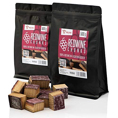 BBQ-Toro Redwine Chunks (1 kg) Rotwein Räucherchunks | rauchintensive Holzchunks aus Eichenfässern | Räucherklötze für Gasgrill, Smoker, BBQ