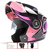 LALEO Ajustable Personalidad Grafiti Casco Moto Modular Integral Casco Moto Abierto, Doble Visera para Hombres y Mujeres, ECE Certificado (54-60cm),Pink