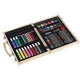 Tops Caja de pintura de 66 piezas, caja de acuarela, lápices de colores, ceras, pinceles, maletín de madera