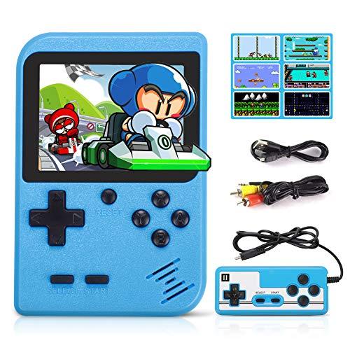 Fivejoy Consola Retro, Consola de Juegos Portátil, Juegos Electrónicos Portátiles, 520 Juegos Clásicos Soporte TV Juegos Portátiles y Dos Jugadores, Regalo de Cumpleaños para los Niños Padres Azul
