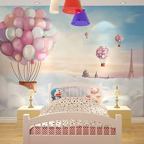 Mural de dibujos animados red red ins globo de aire caliente papel tapiz mural de dibujos animados niños y niñas habitación infantil fondo pared pri Papel Pintado Fotográfico Fotomural-350cm×256cm
