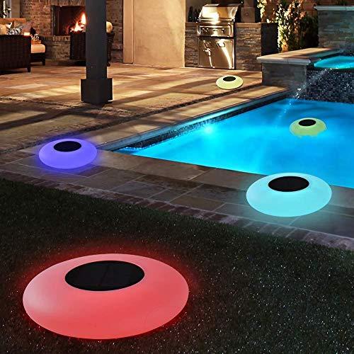 Luces solares para piscina, luz solar flotante con control remoto, luces solares para jardín al aire libre impermeables que cambian de varios colores