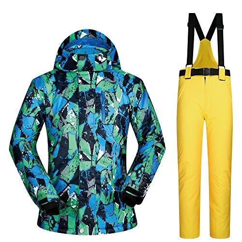 CXJ skipak heren ski-jack + broek met bretels, winddicht, waterdicht, ademend, met capuchon, verstelbare manchetten voor snowboard ski's in de open lucht