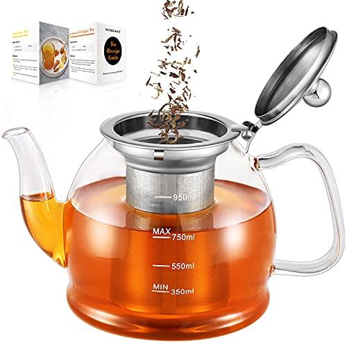 Teekanne Glas, 1000ML Teekanne mit Siebeinsatz, Borosilikatglas Teeservice, Glasteekanne, Teekanne...