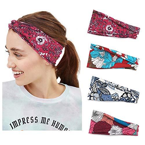 YEESEE Boho Diademas para Mujeres, Flor Vintage Impreso Anudado Elástico Banda para el Cabello, Stretchy Head Wrap...