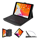 OMOTON Tastiera con Custodia per iPad 10.2 2019 7a Gen/ 8a Gen 2020/ iPad Air 3 / PRO 10.5'' 2017, Cover Tastiera Retroilluminata Bluetooth Staccabile, Layout Italiano QWERTY, Nero
