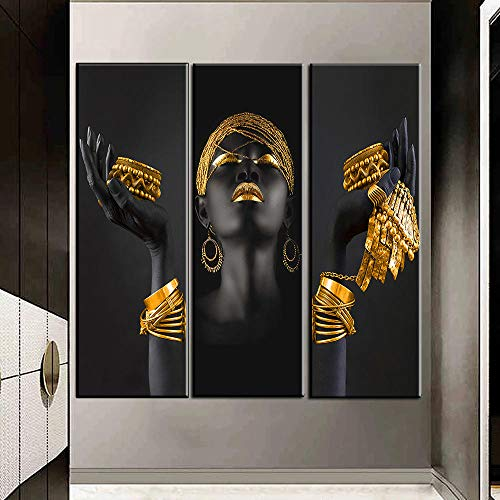 LZASMMVP Mujeres africanas con Pinturas en Lienzo de Joyas de Oro y Plata, murales y Carteles de Mujeres Negras, Pinturas de decoración del hogar 50x150cmx3Pcs sin Marco