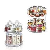 Organizador de armario giratorio, Multifuncional organizador de armarios grande de plástico libre de BPA, Especiero giratorio para guardar especias y tarros en la despensa, transparente