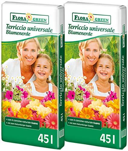 90 L (2x45L) FloraGreen Blumenerde Universalerde Pflanzerde Topferde Erde