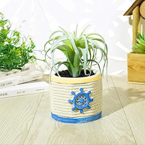 Ruizhishistische planten, mini-kunstplanten met keramische potten in maritieme stijl, kleine kunstplanten voor woonkeuken, badkamer en kantoordecoratie, B