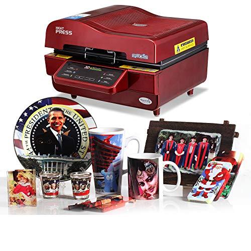 SISHUINIANHUA 3D Sublimazione Macchina di Vuoto, di Sublimazione/pressa di Calore, Tazza/T Shirt/Cellulare Caso Stampante, Coppa/Digital Printing Machine,Rosso,US