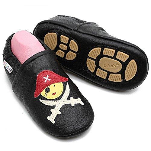 Liya's Babyschuhe Hausschuhe Lederpuschen mit Gummisohle - #680 Pirat in schwarz - Gr. 23/24