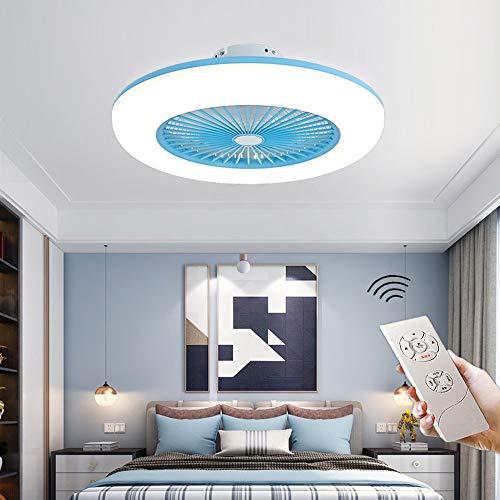 CAGYMJ Ventilador De Techo con Iluminación Ventilador De Techo LED Luz Velocidad del Viento Ajustable Control Remoto,Ultra Silencioso Ventilador Luces De Ventilador De Dormitorio,Azul