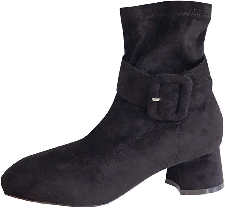 AJUNR-Zwei Trägt Gürtel Heel 4Cm 4Cm 4Cm Stiefel Wildleder Nahe Bei Dicken Sohle Schwarz Slim Mode - Stiefel  ca3c04