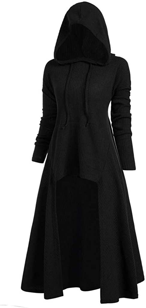 WUAI-Women Gothic Hooded Jackets Plus Size Long Sleeve High Low Hooded Sweater Cloak Renaissance Witch Cape Outerwear
