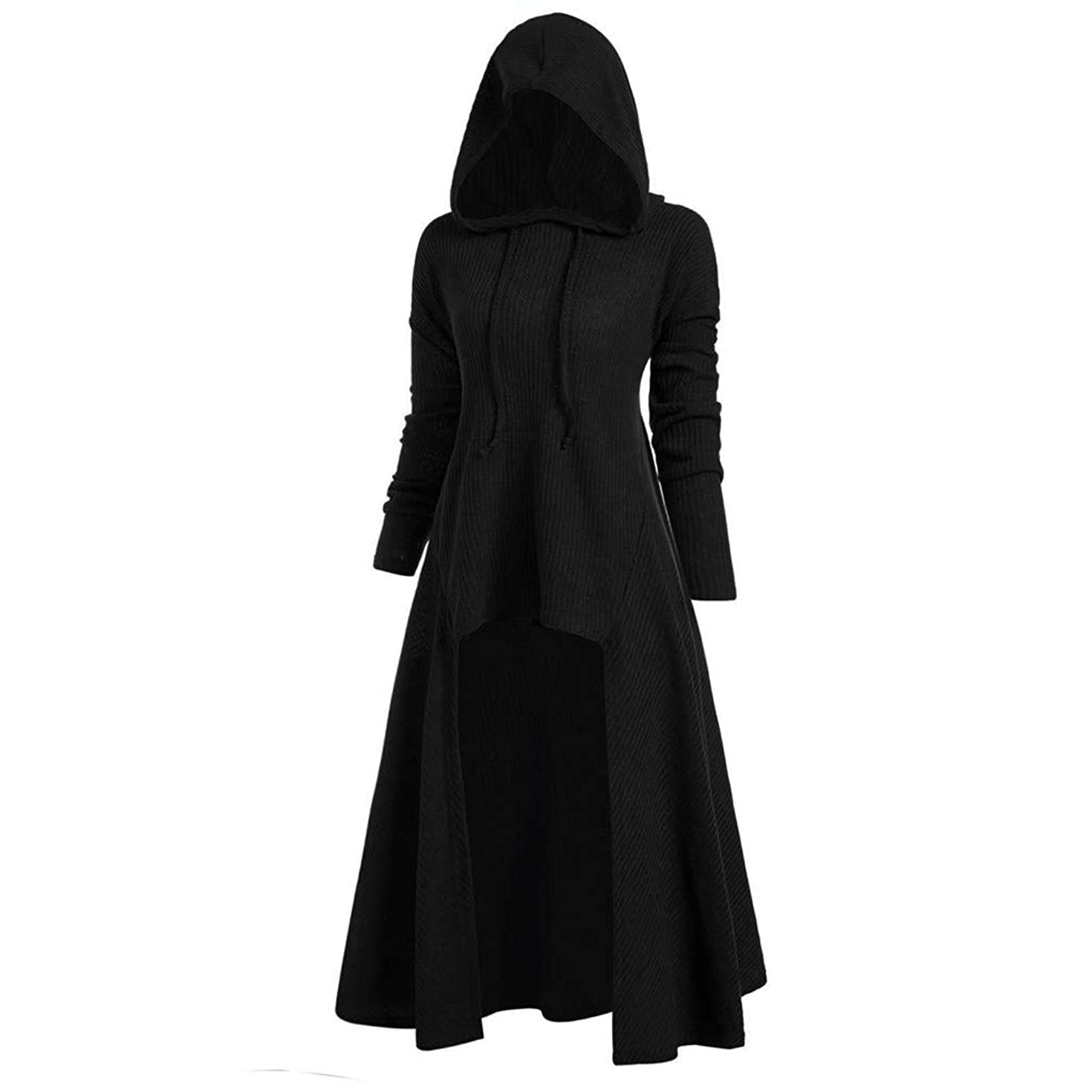 Womens Gothic Punk Asymmetric Hem Long Sleeve Loose Hoodies Dress Cloak Costumes Vintage High Low Sweatshirts Tunic Tops