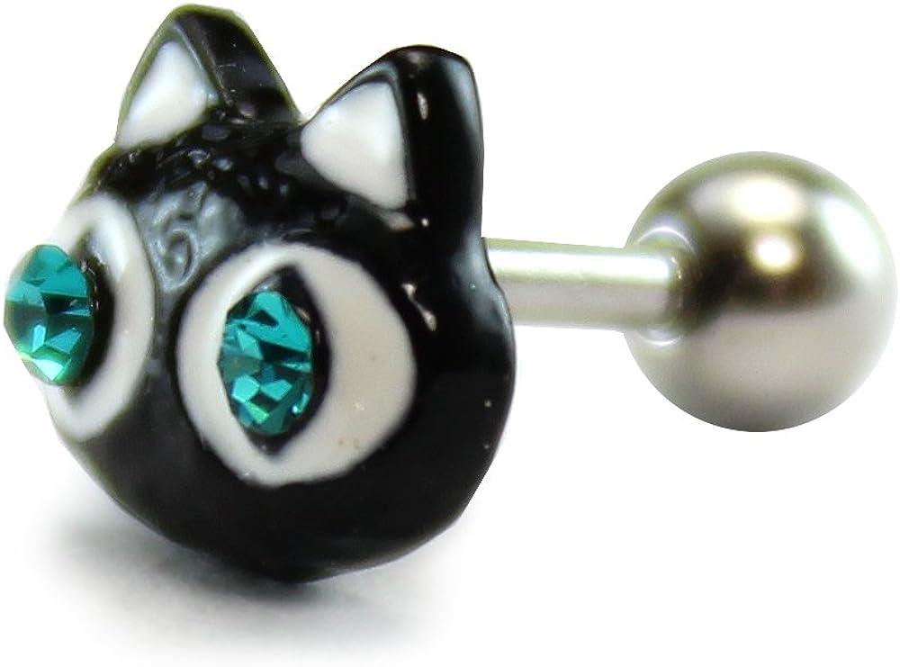 HiUnni 16g Kawaii cat Cartilage Earring, Helix Conch Ear Stud, Ear Piercing Jewelry 1pc