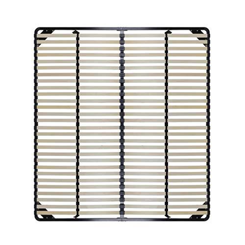 i-flair Lattenrost Ortho 160x200 cm Lattenrahmen mit 28 Holzleisten je Seite mit stabilen Stahlrahmen für alle Matratzen geeignet