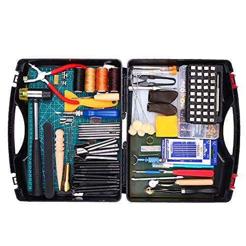 ZIEM 273 piezas de herramientas y suministros de cuero para trabajar con un estuche de almacenamiento Accesorios básicos de artesanía en cuero con ranuras, biseladoras, números de cortador y sellos de