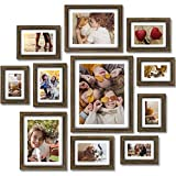 Homemaxs Picture Frames Collage Set, 11 PCS Rustic Wall Gallery Kit With Mat for Tabletop, Wooden Photo Frame Collage for Wall, Home Decor, Four 4x6 in, Four 5x7in, Two 8x10in, One 11x14in-Rustic Bronze