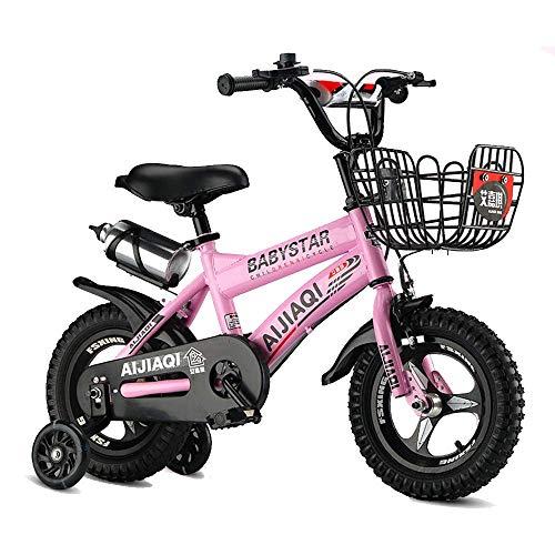HUAQINEI Bicicleta para niños de 12/14 Pulgadas, Adecuada para niñas y niños de 2 a 5 años, con Ruedas y Freno de Mano, Blanco, Negro, Rosa, Rojo