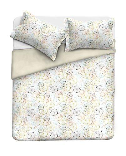 Satin sängkläder säng, 100 % bomull, blå, dubbelsäng ST20 250 x 250 x 2 cm krämvit