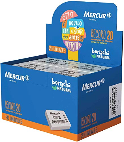 Borracha Escolar Branca, Mercur, Record 20, B0101004-01, Caixa com 20 Unidades