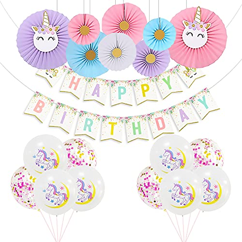 Unicorn Birthday Decorations for Girls, including with 12'' Rainbow Confetti and Unicorn Latex Balloons and Happy Birthday Banner with Unicorn Paper Fan Flower for Unicorn Birthday Party Supplies