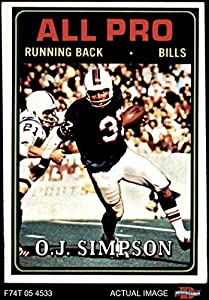 1974 Topps # 130 All-Pro O.J. Simpson Buffalo Bills (Football Card) Dean's Cards 5 - EX Bills