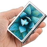 Tarjeta de visita profesional, caja de la cartera de acero inoxidable Flor de titular de tarjeta de ID de tarjeta de crédito