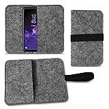 UC-Express Filz Tasche kompatibel für Samsung Galaxy S20 S10 S9 Lite Plus A40 A41 A21 A21s A51 Hülle Cover Handy Hülle Schutzhülle, Farben:Dunkel Grau